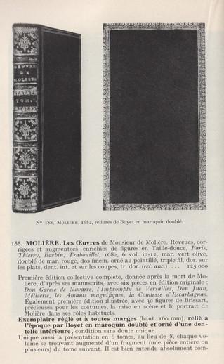 L'un des plus beaux Molière de 1682. Reliure doublée de Boyet. 125.000 francs en 1966.
