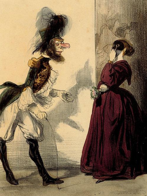 GAVARNI Lithographie originale aquarellée gommée époque PARIS LE SOIR
