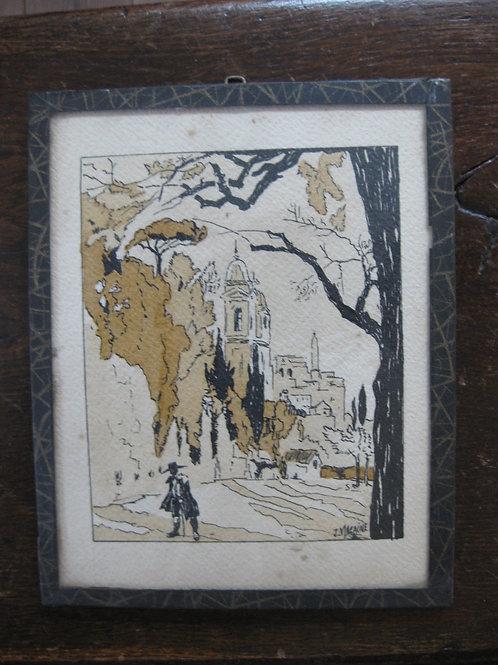 Dessin original encre de Chine et aquarelle années 1930-1940 signé J.Macaine