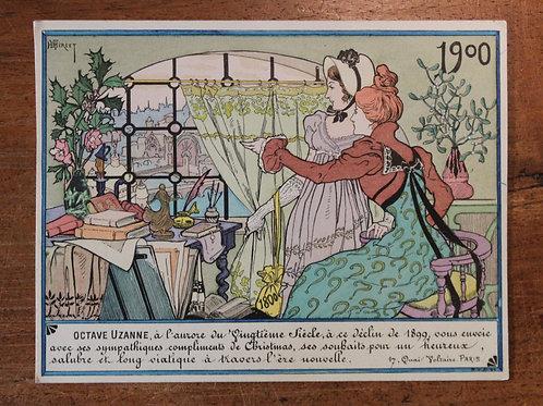 Carte de voeux pour Octave Uzanne (année 1900) par Henri Thiriet. Rare