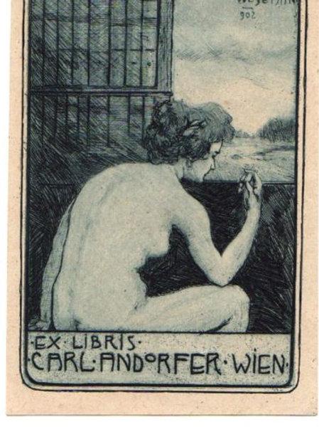 Ex libris eau-forte de 1902 Autriche Vienne femme livre bibliomane