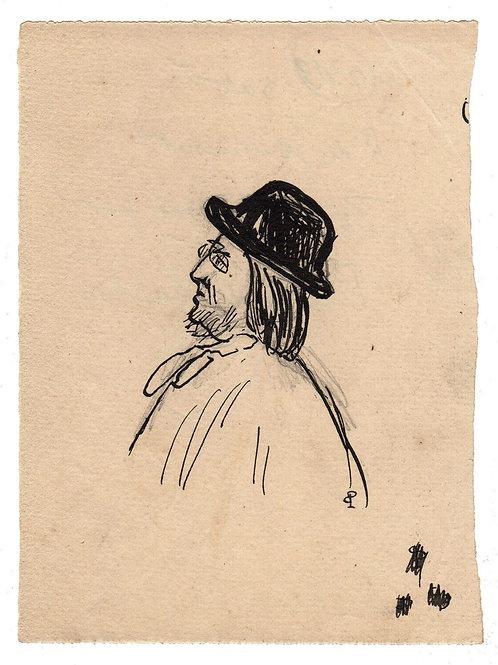Dessin original à l'encre de chine portrait Remy de Gourmont