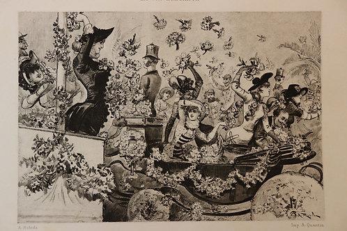 1882 Albert Robida Nice A Quantin Vie élégante femmes carnaval fleurs
