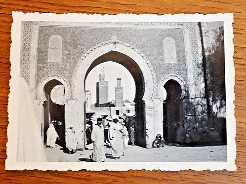 Photo ancienne vers 1930 Maroc Afrique Fès Porte Bab Boujloud Médina