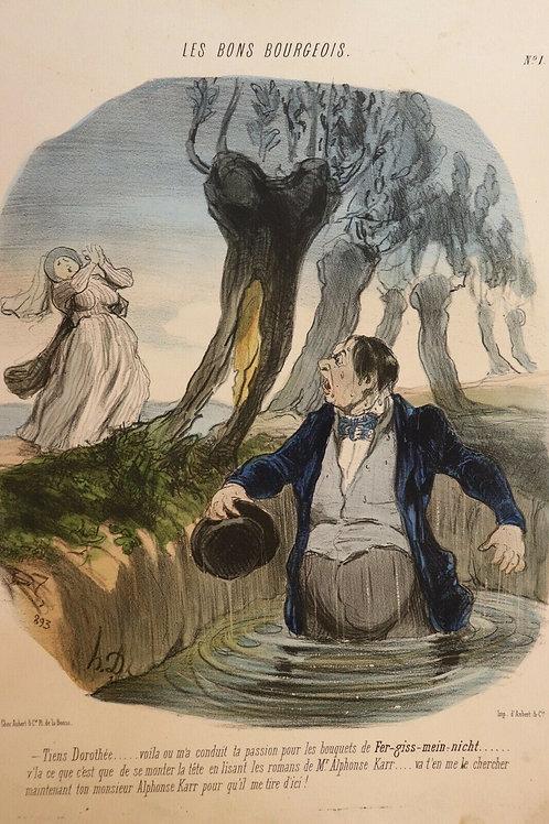 Honoré Daumier Lithographie originale tirage sur blanc aquarellé Série Les Bons