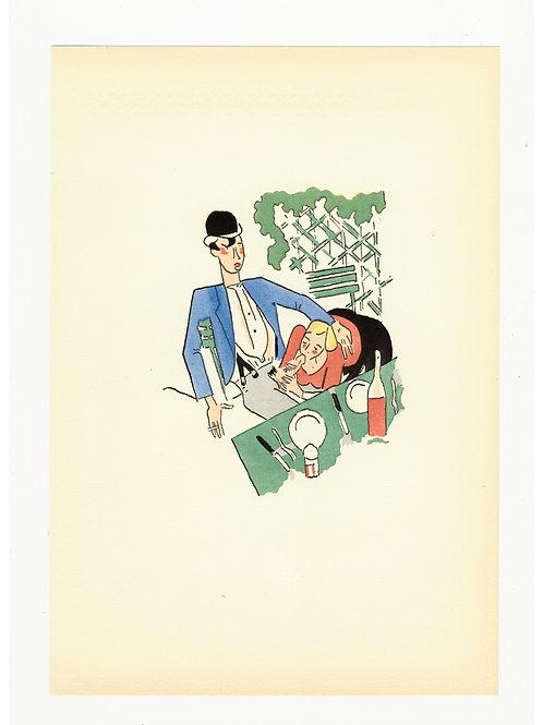 1939 Marcel Stobbaerts Illustration coloriée au pochoir curiosa erotica P. Louÿs