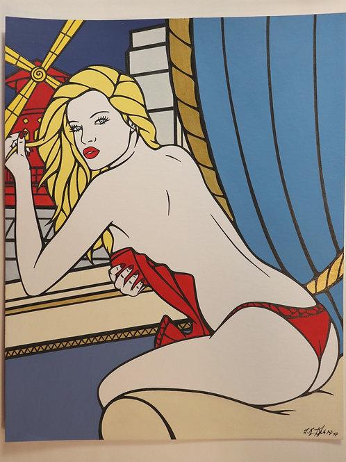 """Sophie Dumont. Dessin original sexy 30 x 24 cm acrylique et stylo """"MOULIN ROUGE"""""""