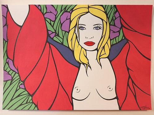 """Sophie Dumont. Dessin original sexy 29,5 x 21 cm acrylique et stylo """"DANIELA"""""""
