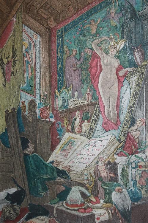 Félicien Rops. Le Mirouer de Sorcellerie (1884). Héliogravure