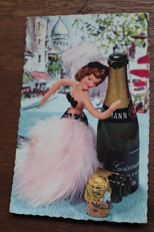 CPA fantaisie vintage rétro Bonne année champagne barbie poupée Noël