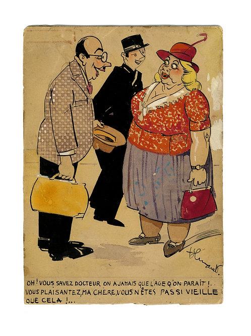Dessin original humoristique (1925-1930) - Vieille femme et docteur