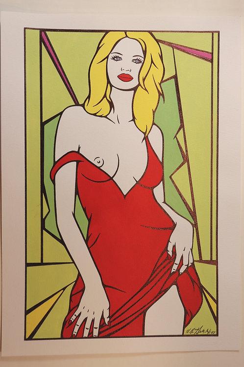 "Sophie Dumont. Dessin original sexy 26,5 x 17 cm acrylique et stylo ""ELEONOR"""