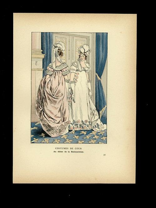 Fr. Courboin Estampe aquarellée époque 1898 mode femme histoire costume n°50