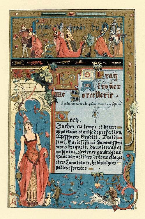 Gravure 1884 Mirouer de Sorcellerie pour son Altesse la Femme Uzanne ésotérisme