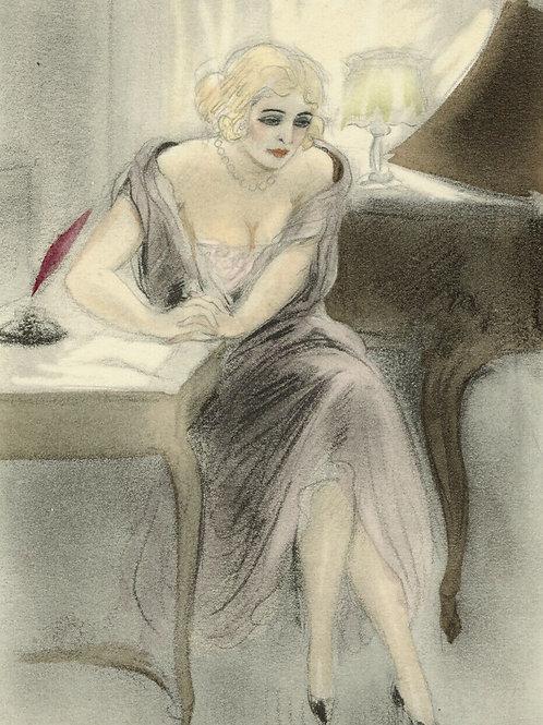 LÉON COURBOULEIX estampe aquarellée pochoir pour CHÉRI de Colette 1949  mode