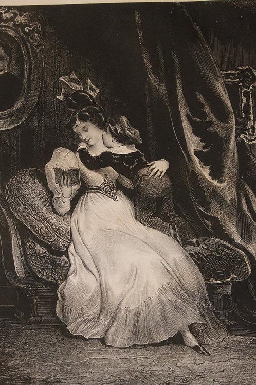 """Lithographie originale 1829 Achille Devéria """"Le petit importun"""" Romantisme"""