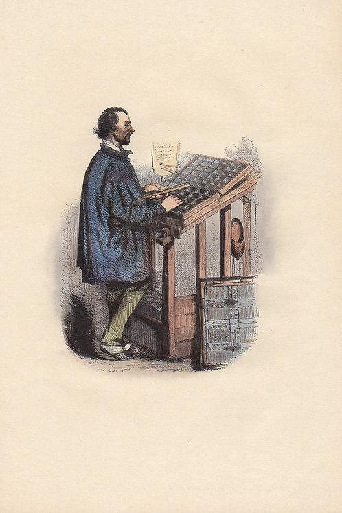 Henri Monnier. Le compositeur typographe (1840). Estampe aquarellée gommée