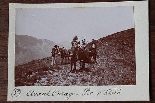 Photographie ancienne 1899 Pic D'Ayré Pyrénée Montagne randonnée ânes