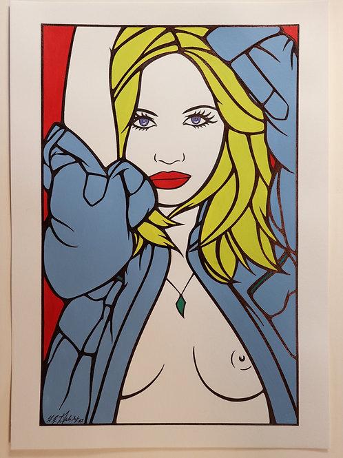 """Sophie Dumont. Dessin original sexy 26,5 x 17 cm acrylique et stylo """"STEPHAN"""""""