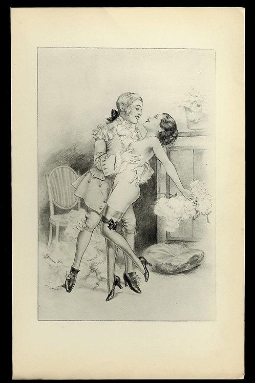 1936 Herrick Chéri Hérouard illustration héliogravure Fouet Fessée bdsm curiosa