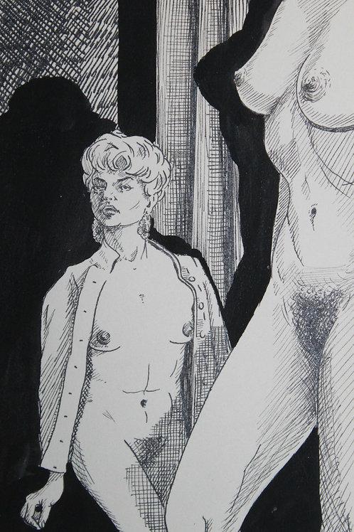 Dessin original érotique à l'encre de Chine par un artiste anglais (vers 1960)