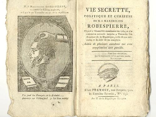 """L. Duperron. Vie secrète de Robespierre (1794). """"Ecrit Excessivement rare"""""""