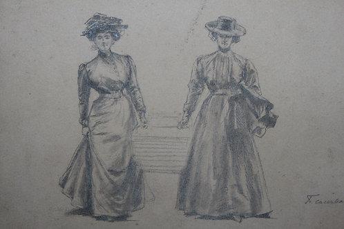 Dessin original par François Courboin 1900 La femme