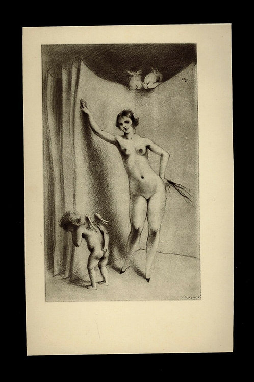 1930 Jim Black Luc Lafnet illustration héliogravure Fouet nu féminin, ange