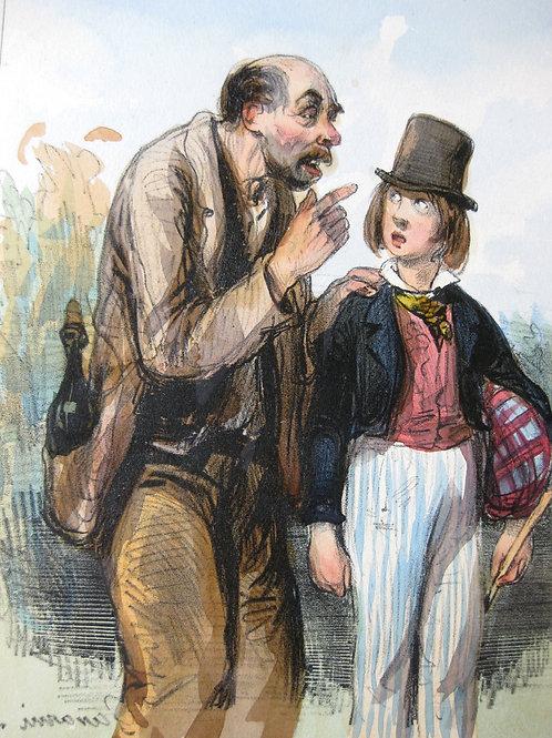 Lithographie de Gavarni (vers 1840). Belle épreuve coloriée à l'époque.