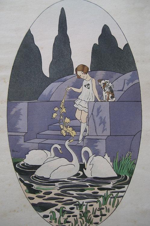 Deux estampes couleurs Art Déco enfantina signées Reine 1925