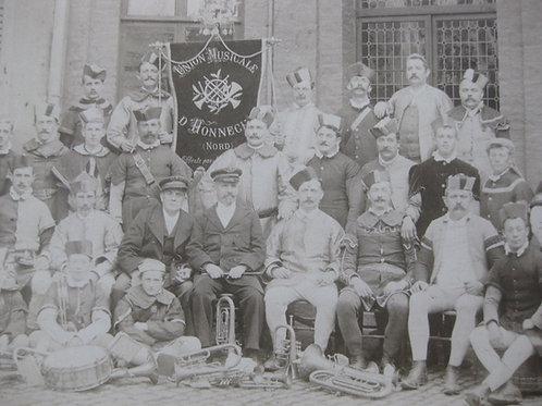 Photographie vers 1900 Union musicale d'Honnechy, fanfare Nord