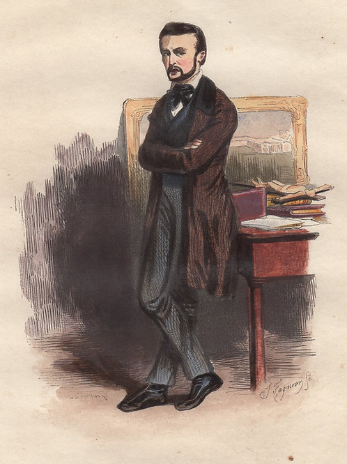 Gavarni. L'Humanitaire (1840). Estampe aquarellée gommée