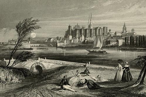 1856 Bords de Loire Gravure sur acier tirée sur chine contrecollé Angers