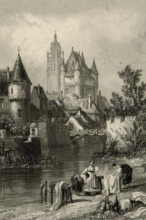 1856 Bords Loire Gravure acier tirée sur chine contrecollé Loches lavandière