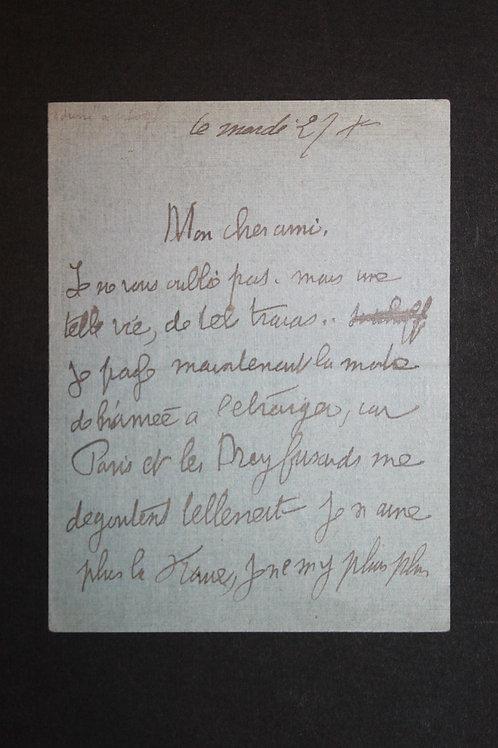 Lettre autographe signée de Jean Lorrain à Logé (189?)