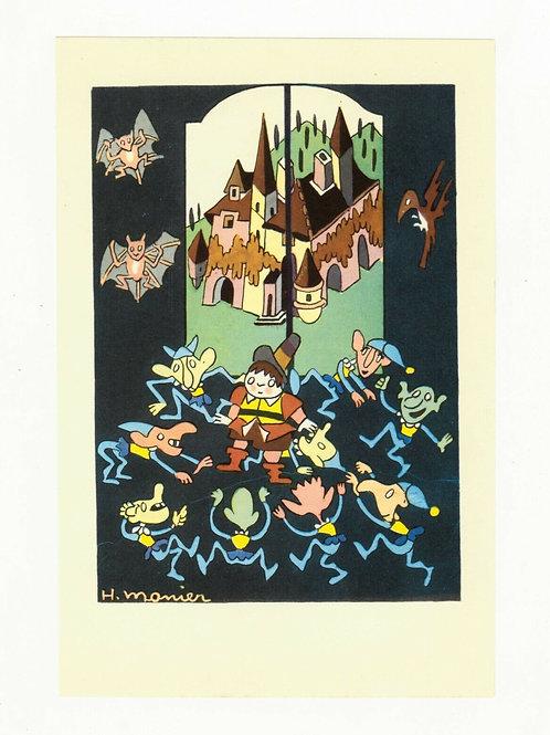 Henri Monier Illustration couleur offset 1955 pour livre d'enfants décoration