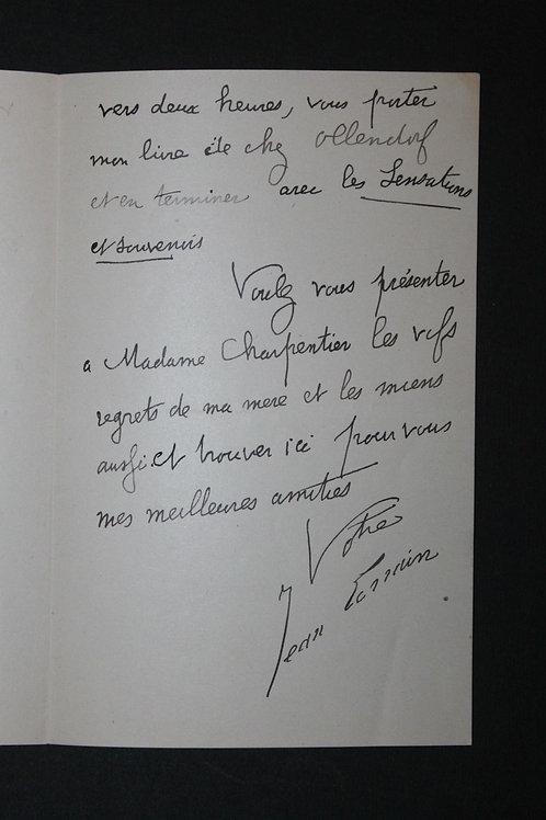 Jean Lorrain à son éditeur Georges Charpentier. Sensations et Souvenirs