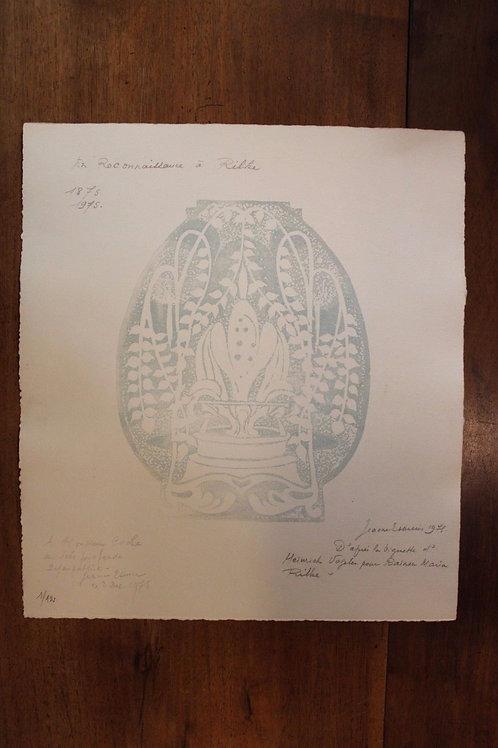 1975 Jeanne Esmein Estampe originale Épreuve n°1/12  En Reconnaissance à Rilke