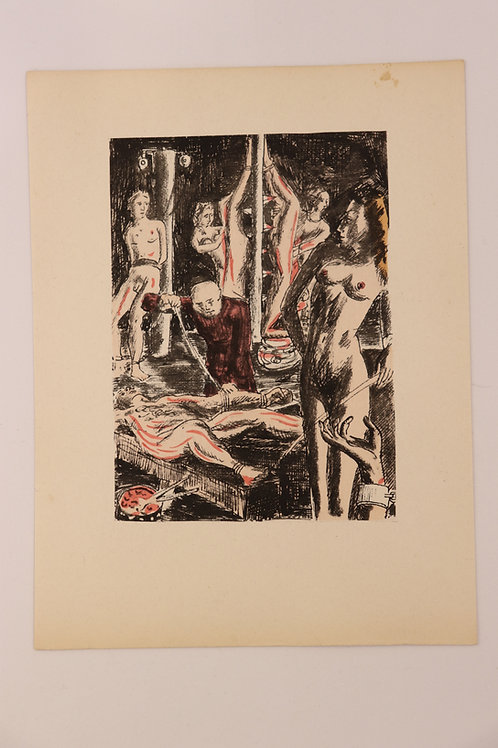 Estampe érotique aquarellée. BDSM. Marquis de Sade (120 journées). Vers 1940