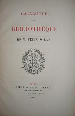 La bibliothèque Félix Solar (1860-1861) vue par le Bibliophile Jacob.