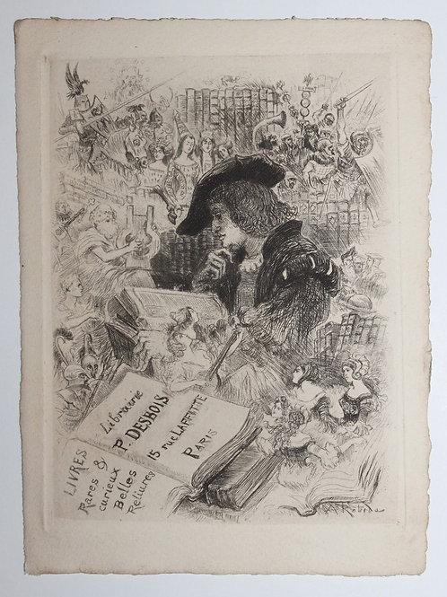 Carte Eau-forte pour la librairie ancienne P. Desbois par Albert Robida (1901)