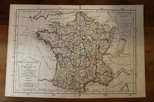 1765 Map Carte géographique Atlas Philippe Prétot Vallet France Régions