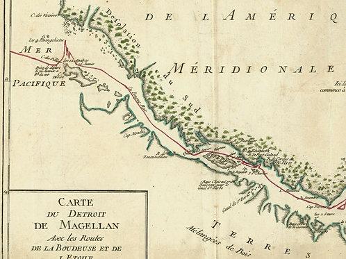 1765 1770 Map Carte géographique Atlas Philippe de Prétot détroit Magellan