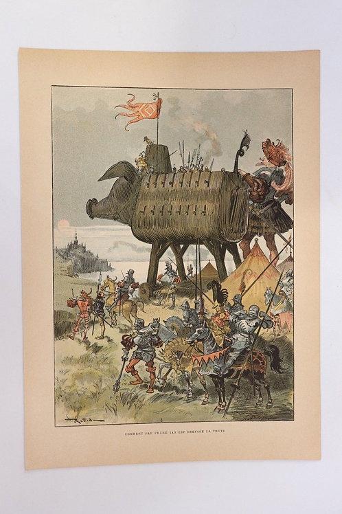 1886 Albert Robida Gravure en couleurs chromotypogravure gillotage Rabelais n°21