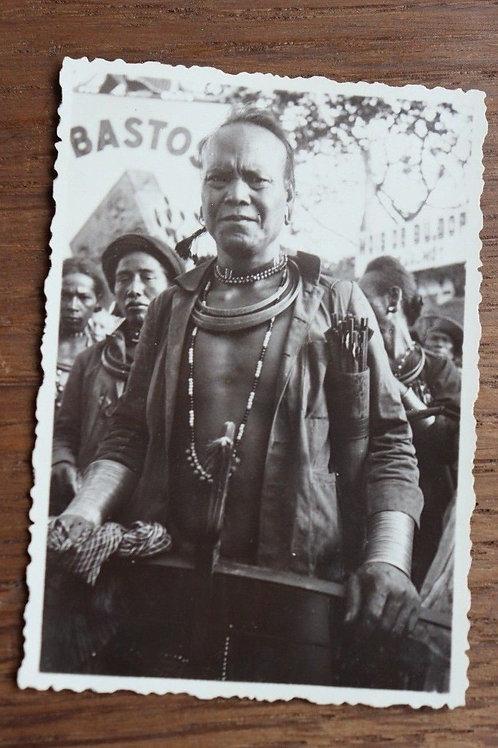 Photographie ancienne 1937 Viêt Nam Vinh Long Homme Moï