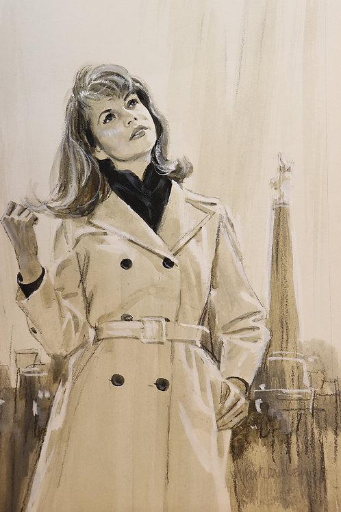 1967 Dessin original Mark Miller Aquarelle Gouache Roman-Photo Painting