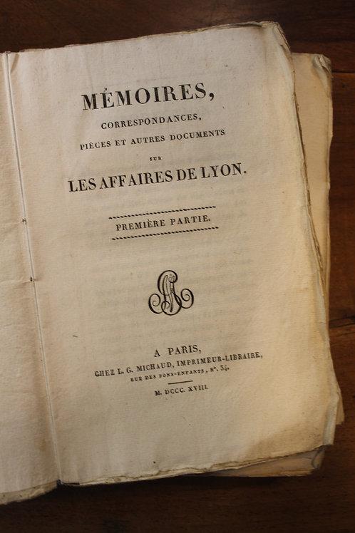 Mémoires, Correspondances et Documents sur les Affaires de Lyon (1818)