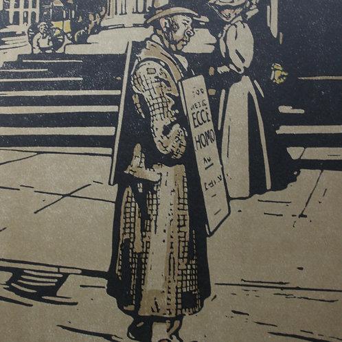 Les types de Londres L'Homme Sandwich lithographie W. Nicholson 1898