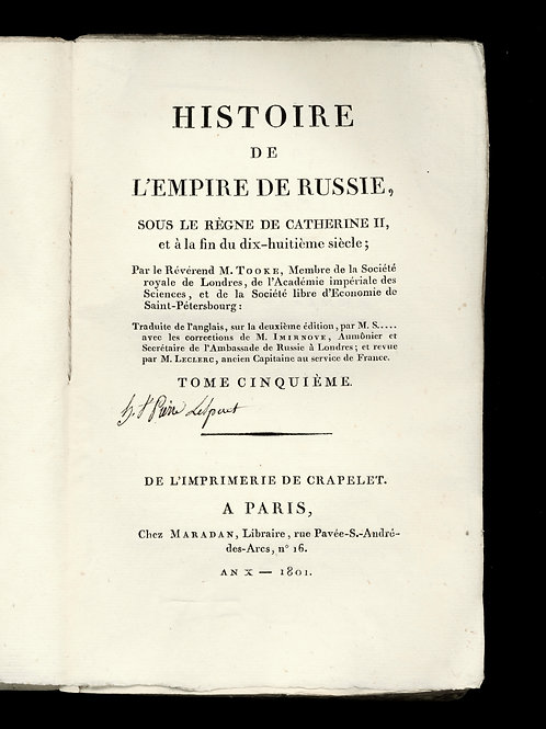 William Tooke. Histoire de l'Empire de Russie (1801). 6 volumes in-8 brochés ép.