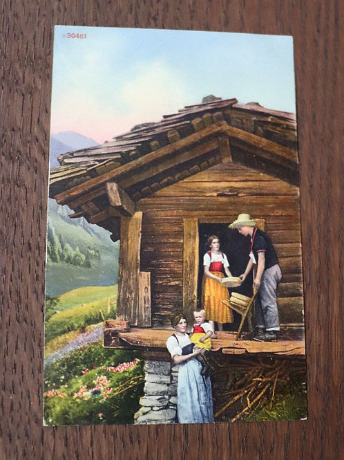 CPA couleurs chalet bergers fromages Suisse Alpes Montagne